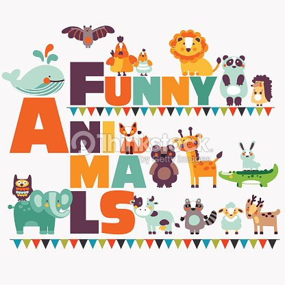 Big funny animal set made of wild and domestic animals