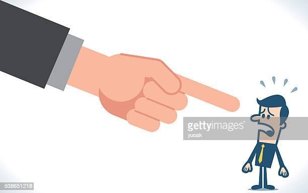 Big hand pointing a businessman