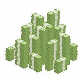 Big stacked pile of cash. Hundreds of dollars in flat style isometric illustration. Big money concept. Stacked pile of hundred us dollar cash. Big pile of cash.