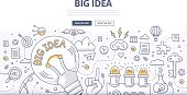 Doodle design style concept of big idea, finding solution, brainstorming, creative thinking. Modern line style illustration for web banners, hero images, printed materials