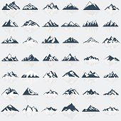 Big mountain icons set. Vector illustration.