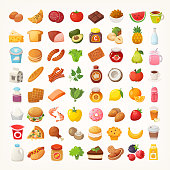 Big number of foods from various categories. Isolated vector icons