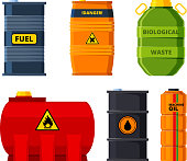 Big oil tanks. Set of barrels for oil or toxic fuel. Tank and barrel, storage container reserve. Vector illustration