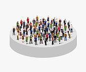 Big people crowd in circle. Society concept. Vector illustration.