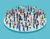 Big people crowd on white background. Vector illustration.