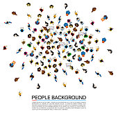 Big people crowd on white background . Vector illustration.