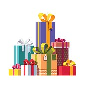 Big pile of colorful wrapped gift boxes decorated with ribbon, bows and ornaments. Lots of holiday presents. Flat style vector illustration isolated on white background.