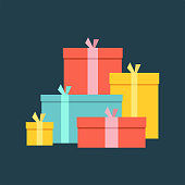 Big pile of colorful wrapped gift boxes. Big pile of presents, surprises. isolated on dark background