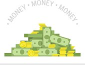 Concept of big money. Big pile of cash. Business and banking concept. Heap of cash, American dollars, pack, parcel, batch, flock, package modern design isolated on white background in flat style.