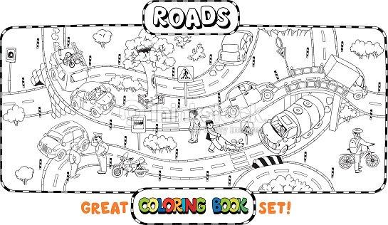 Gran Carretera Libro Para Colorear Arte vectorial | Thinkstock