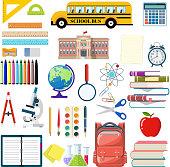 Big school set. Different school supplies, stationery. Note globe paint pencil pen calculator backpack clock scissors ball apple building schoolbus ruler atom. Vector illustration in flat style