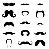 Big set of black mustaches. Face hair silhouettes