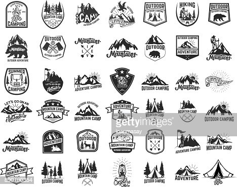 Big set of camping, hiking, tourism emblems. Design element for emblem, sign, label, poster. : stock vector