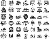 Big set of camping, hiking, tourism emblems. Design element for emblem, sign, label, poster. Vector illustration