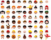 vector illustration of big Set of cartoon children head
