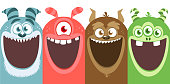 Big set of cartoon monsters for Halloween. Package design. Monsters characters illustration collection