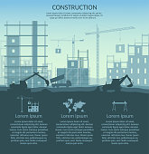 Big set of construction elements infographic