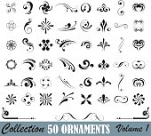 This is a part of series collection off 50 ornaments design in black against a white background. Designs are arranged in eight columns at 6 elements.The image features black lines of varying thickness