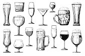 Big set of different alcoholic beverages. Vector