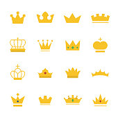 Big set of gold crown on modern flat style. Collection of royal king, prince, queen, princess crown awards for leadership, champions, winner and others. Vector illustration on a white background