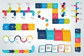 Big set of Infographic timeline report, template, chart, scheme. Vector.