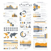 Big set of infographics elements. Vector Illustration for business presentation, booklet, website etc.