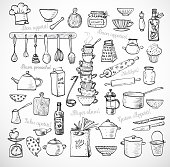 Big set of kitchen sketch utensils hand-drawn with ink on white background.  Cups, teapots, pots. bottles. chopping boards ets.  Contains inscription Bon appetit in different languages.