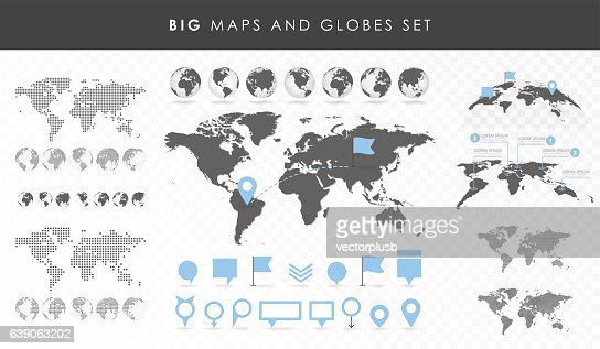 Big set of maps and globes. : Arte vectorial
