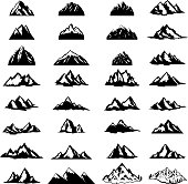 Big set of mountain icons isolated on white background. Design elements for label, emblem, sign. Vector illustration