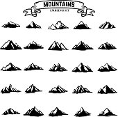 Big set of mountains icons isolated on white background. Design elements for label, emblem, sign. Vector illustration