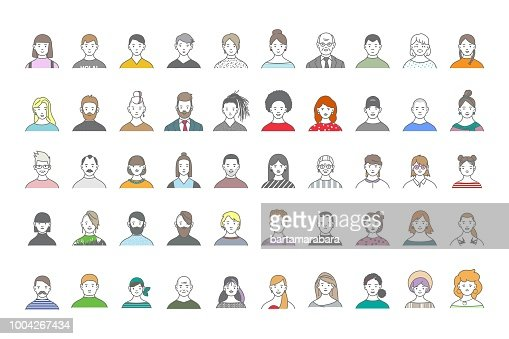 Big set of people avatars for social media, website. Line art portraits fashionable girls and guys. : Vector Art