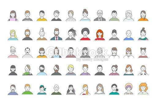 Big set of people avatars for social media, website. Line art portraits fashionable girls and guys. : arte vetorial