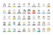 Big set of people avatars for social media, website. Line art portraits fashionable girls and guys.