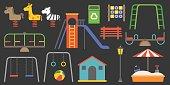 Big set of playground equipment vector illustration, carousel, swings, slides, sandbox, seesaw, bench, flat design