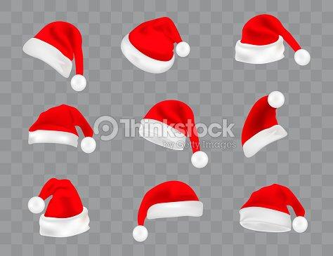 透明な背景に分離されたリアルなサンタの帽子の大きなセット。ベクトル サンタ クロース帽子コレクション、クリスマス イラストにホリデイ ・ キャップ : ベクトルアート