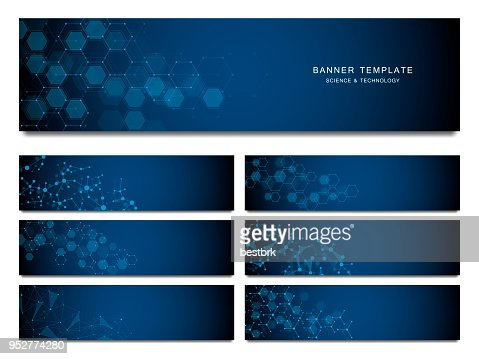 Big set of science and technology banners. Molecular and chemical structure : Vector Art