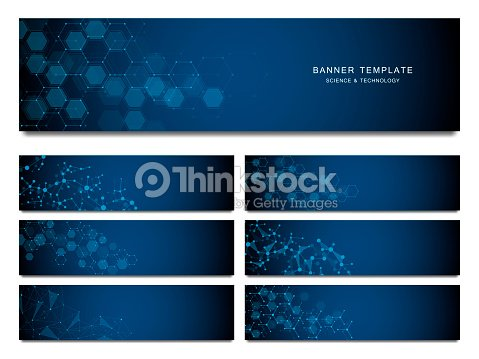 Big set of science and technology banners. Molecular and chemical structure : stock vector