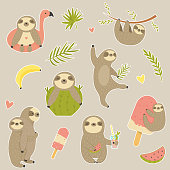Big set of stickers with cute sloth. Animal character design.