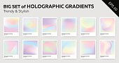 Big Set of Trendy Pastel Holographic Backgrounds for Cover, Flyer, Brochure, Poster, Wedding Invitation, Wallpaper, Backdrop, Business Design. Abstract Template for Social Media Design.