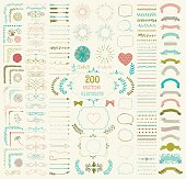Set of 200 Colorful Hand Drawn Doodle Design Elements. Rustic Decorative Line Borders, Florals, Dividers, Arrows, Swirls, Scrolls, Ribbons, Banners, Frames Corners Objects. Vector Illustration