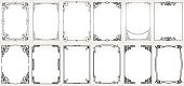 Big set Template of Decorative vintage frames,borders rectangular shape. Old backgrounds