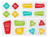 Set of flat geometric sale banner in trendy concept. Bright colors shop clearance label in futuristic shapes with round corners . Vector illustration with sale tags for store discounts or best offers.