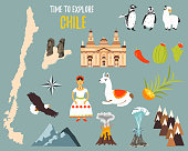 Big Set with landmarks, animals, symbols of Chile.