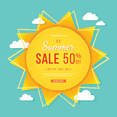Big summer sale banner. Sun with rays, clouds and sign. Summer template poster design for print or web. Vector discount background.