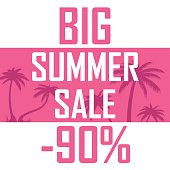 Picture of beautiful palm trees on a pink background with the inscription of a great summer sale