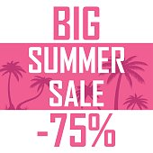 Illustration of beautiful palm trees on a pink background with the inscription of a great summer sale