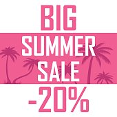 Icon of beautiful palm trees on a pink background with the inscription of a great summer sale