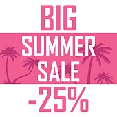 Banner of beautiful palm trees on a pink background with the inscription of a great summer sale