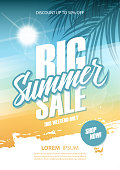 Big Summer Sale poster. This weekend only special offer commercial sign with hand lettering and palm leaves. Discount up to 50% off. Shop now! Vector illustration.