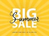 Big Summer Sale sign with retro pop art halftone background. Vector web banner template illustration.